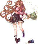 1girl acea4 bangs black_skirt blunt_bangs boots bouquet brown_footwear brown_hair creature flower full_body green_eyes hair_flower hair_ornament helena_(kancolle) kantai_collection kneehighs long_hair long_sleeves looking_at_viewer looking_to_the_side official_art pink_shirt shirt skirt smile standing swinging third-party_source transparent_background very_long_hair white_legwear