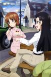 2girls :d absurdres bangs belt black_hair brown_eyes brown_hair brown_pants cake car clouds collared_shirt crossed_legs dress eating eyebrows_visible_through_hair food fork frilled_sleeves frills girls_und_panzer green_jacket grey_eyes ground_vehicle highres holding holding_cake holding_food holding_fork house jacket jacket_removed lamppost long_hair long_sleeves looking_to_the_side megami_magazine motor_vehicle multiple_girls nishi_kinuyo nishizumi_miho official_art open_mouth outdoors pants picnic_table pink_dress pointing road scan shirt short_hair sidewalk sitting sky smile table utensil_in_mouth white_shirt window