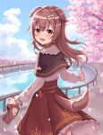 1girl :d animal_ears bag bangs black_capelet blue_sky blush bone_hair_ornament brown_eyes brown_hair brown_skirt capelet cartoon_bone clouds collared_shirt commentary_request day dog_ears dog_girl dog_tail eyebrows_visible_through_hair fangs flower frilled_shirt_collar frilled_skirt frills hair_between_eyes hair_ornament happycloud highres holding holding_bag hololive inugami_korone listener_(inugami_korone) long_hair long_sleeves looking_at_viewer looking_back open_mouth outdoors paper_bag petals pink_flower railing shirt skirt sky smile solo tail tree_branch virtual_youtuber water white_shirt