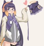 1girl :3 =_= absurdres alternate_costume bangs bespectacled blunt_bangs eyebrows_visible_through_hair glasses halo headphones heart highres hololive hololive_english huge_filesize kiwwwwwi mechanization mole mole_under_eye ninomae_ina'nis open_mouth pointing robot solo_focus thigh_strap virtual_youtuber wings