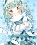 1girl animal bird blue_background braid brown_eyes closed_mouth coat earmuffs emo_(mikan) fur-trimmed_sleeves fur_trim gloves hair_ornament hairclip holding holding_animal holding_bird light_green_hair long_sleeves original scarf smile snowflakes traditional_media twin_braids watercolor_(medium) white_bird