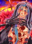 1boy afglo bare_pecs black_gloves bleeding blood blood_on_chest blood_on_face blue_hair chest_tattoo cu_chulainn_(fate)_(all) cu_chulainn_alter_(fate/grand_order) earrings elbow_gloves embers facepaint facial_mark fate/grand_order fate_(series) gloves grin hair_over_shoulder hair_strand highres hood injury jewelry long_hair looking_at_viewer male_focus muscular red_eyes signature smile solo spikes tattoo upper_body