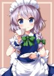 1girl apron bangs blue_eyes blush bow braid brown_background cup eyebrows_visible_through_hair green_bow green_neckwear hair_bow hand_up highres holding holding_cup izayoi_sakuya looking_at_viewer maid maid_apron maid_headdress mary_janes one-hour_drawing_challenge petticoat plate puffy_short_sleeves puffy_sleeves ruu_(tksymkw) shirt shoes short_sleeves simple_background smile solo touhou twin_braids upper_body waist_apron white_apron