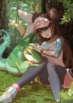 >_< 1girl bag bangs black_legwear bow breasts brown_hair collarbone commentary_request double_bun elach eyelashes gen_5_pokemon grass green_eyes highres knees_together_feet_apart legwear_under_shorts long_hair pantyhose petting pink_bow pokemon pokemon_(creature) pokemon_(game) pokemon_bw2 raglan_sleeves rosa_(pokemon) serperior shirt shoes short_shorts shorts sitting sneakers snivy tearing_up tree twintails visor_cap yellow_shorts