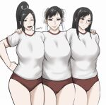 3girls alternate_costume arm_behind_back artist_name bangs blush breasts brown_eyes buruma chun-li closed_mouth cowboy_shot double_bun earrings fatal_fury final_fantasy final_fantasy_vii gym_uniform hair_ribbon hand_on_hip hands_on_another's_shoulders highres huge_breasts jewelry large_breasts looking_down multiple_girls one_eye_closed open_mouth outline parted_bangs pink_lips ponytail red_eyes ribbon shibusun shiny shiny_hair shiranui_mai shirt short_hair side-by-side sidelocks simple_background smile straight_hair street_fighter swept_bangs thighs tifa_lockhart white_background white_shirt