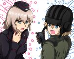 2girls bangs black_gloves black_headwear black_jacket blonde_hair blue_eyes bob_cut commentary dress_shirt eyebrows_visible_through_hair fang garrison_cap girls_und_panzer girls_und_panzer_saishuushou gloves green_jumpsuit hand_on_own_throat hat helmet highres holding insignia itsumi_erika jacket jumpsuit katyusha_(girls_und_panzer) kuromorimine_military_uniform long_sleeves looking_at_another medium_hair military military_hat military_uniform multiple_girls omachi_(slabco) open_mouth pravda_military_uniform radio shirt short_hair silver_hair smile tank_helmet throat_microphone uniform