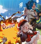 +++ 1boy 1girl 2others :d ahoge backpack bag black_gloves blonde_hair bloomers blue_hair blurry blurry_background brown_gloves cabbie_hat clenched_hand closed_eyes commentary dark_skin dark_skinned_male dress explosion eyepatch feather_boa genshin_impact gloves hair_over_one_eye hat highres hilichurl_(genshin_impact) kaeya_(genshin_impact) klee_(genshin_impact) kmjr laughing long_hair long_sleeves low_twintails male_cleavage multicolored_hair multiple_others one_eye_covered open_mouth outdoors outstretched_arms pocket pointy_ears pom_pom_(clothes) ponytail randoseru red_dress red_headwear smile sound_effects sparkle spread_arms streaked_hair symbol_commentary twintails underwear