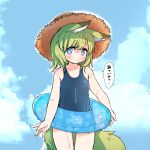 1girl animal_ear_fluff animal_ears blue_eyes blue_swimsuit blush child cowboy_shot done_(donezumi) dripping fox_ears fox_tail green_hair hat highres innertube medium_hair one-piece_swimsuit original outdoors school_swimsuit solo standing straw_hat swimsuit tail thick_eyebrows wet