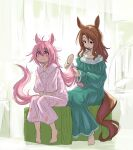 2girls absurdres animal_ears barefoot blush brown_eyes brown_hair dress ear_twitch feet full_body green_dress hair_brush hair_brushing haru_urara_(umamusume) highres horse_ears horse_girl horse_tail king_halo_(umamusume) long_hair multiple_girls nightgown pink_dress pink_eyes pink_hair rai-rai sitting sleepwear smile tail toes umamusume