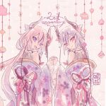 2others anniversary bare_shoulders blue_hair braid character_name floral_print from_behind gradient_hair hair_flaps horns japanese_clothes kimono kisalaundry long_hair looking_at_viewer looking_back meika_hime meika_mikoto multicolored_hair multiple_others ornament pink_hair shirt sketch sleeveless sleeveless_shirt twintails upper_body very_long_hair vocaloid