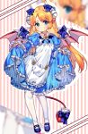 1girl alice_(monster_girl_encyclopedia) apron blonde_hair blue_dress blue_eyes blush bow buttons demon_girl demon_tail demon_wings dot_mouth dress dress_lift full_body heart heart-shaped_pupils highres horn_bow horn_ornament horns lifted_by_self long_hair looking_at_viewer monster_girl_encyclopedia pointy_ears rnskkn solo symbol-shaped_pupils tail tail_bow tail_ornament white_apron white_legwear wing_bow wing_collar wing_ornament wings
