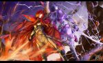 2girls armor armored_boots ass bangs belt black_gloves bodysuit boots breasts cape collared_cape elbow_gloves family_crest fate/grand_order fate_(series) fingerless_gloves fire gloves hair_over_one_eye japanese_armor katana koha-ace kote large_breasts lightning long_hair looking_at_viewer low-tied_long_hair minamoto_no_raikou_(fate) multiple_girls oda_nobunaga_(fate)_(all) oda_nobunaga_(maou_avenger)_(fate) oda_uri parted_bangs pelvic_curtain popped_collar purple_bodysuit purple_hair red_cape red_eyes redhead ribbed_sleeves rope sheath smile sword tassel torichamaru very_long_hair violet_eyes weapon