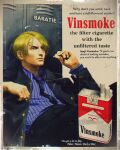 1boy absurdres ad blonde_hair blue_neckwear brand_name_imitation character_name cigarette commentary english_commentary english_text fake_ad highres holding holding_cigarette marlboro necktie one_piece parody sanji smoking vinutun