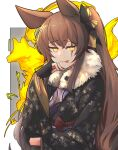 1girl animal_ears brown_hair fox_ears girls_frontline highres official_alternate_costume panichyun scar scar_across_eye solo tongue tongue_out ump45_(girls_frontline) yellow_eyes