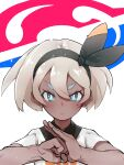 1girl absurdres bangs bea_(pokemon) black_hairband blonde_hair blush bow_hairband clenched_hand closed_mouth collared_shirt commentary_request dark_skin dark_skinned_female eyelashes gym_leader hair_between_eyes hairband hands_up highres looking_at_viewer necoski_2 pokemon pokemon_(game) pokemon_swsh print_shirt shirt short_hair short_sleeves solo