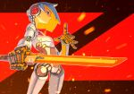 1girl absurdres blue_hair breasts cyberpunk cyborg embers glowing glowing_sword glowing_weapon highres holding holding_sword holding_weapon joints koutetu_yarou original red_background red_eyes robot_joints serious short_hair small_breasts solo sword two-tone_background weapon