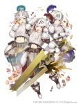3girls absurdres armor basket belt belt_pouch blonde_hair breastplate cake candy cup cupcake doughnut faulds food full_body gauntlets helmet highres holding holding_sword holding_weapon ji_no looking_at_viewer macaron midriff mittens multiple_girls official_art plate_armor plume pouch shoulder_armor sinoalice smile square_enix sword teacup three_little_pigs_(sinoalice) upper_teeth violet_eyes visor_lift weapon white_background