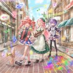 3girls accordion ahoge apron arrow_(symbol) baguette beamed_eighth_notes beret black_legwear boots bread brick_road bubble city closed_eyes commentary day dress drill_hair eighth_note epaulettes expressionless flower food frilled_dress frills green_dress green_headwear guitar hat holding holding_instrument instrument kasane_teto kedama_black keyboard_(instrument) long_hair long_sleeves momone_momo multiple_girls music musical_note open_mouth outdoors personification pink_hair playing_instrument puffy_long_sleeves puffy_sleeves purple_hair purple_headwear purple_shirt rainbow red_eyes redhead road road_sign scenery shirt short_hair shorts sign sixteenth_note smile staff_(music) street striped striped_dress tambourine thigh-highs tree trumpet twin_drills utane_uta utau vest violet_eyes white_shorts white_vest window winged_footwear zettai_ryouiki