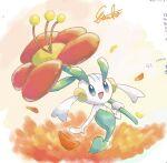 :d commentary_request etsuko_pkmn floette flower gen_6_pokemon holding holding_flower no_humans open_mouth petals pokemon pokemon_(creature) signature smile solo tongue
