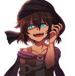 1other androgynous backlighting bare_shoulders blue_eyes brown_hair cape evil_smile kuzu_suzumi len'en short_hair smile solo turban upper_body ximsol182