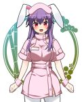 1girl animal_ears bamboo blush breasts eyebrows_visible_through_hair fang hat highres id_card large_breasts light_purple_hair long_hair looking_at_viewer nurse nurse_cap open_mouth purple_hair rabbit_ears red_eyes reisen_udongein_inaba solo touhou very_long_hair white_legwear yagami_(mukage)