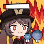1girl black_headwear brown_hair chibi dm_(nguyen_dm95) fire flower-shaped_pupils gameplay_mechanics genshin_impact gradient_hair health_bar hu_tao multicolored_hair red_eyes smile solo symbol-shaped_pupils twintails