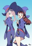 2girls boots brown_eyes brown_hair from_behind hair_over_one_eye half-closed_eyes hat highres kagari_atsuko little_witch_academia long_hair looking_at_viewer looking_back luna_nova_school_uniform miniskirt multiple_girls nail_polish open_mouth optionaltypo pale_skin pink_hair school_uniform signature simple_background skirt smile sucy_manbavaran v wand witch witch_hat