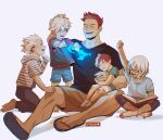 1girl 4boys absurdres arm_up artist_name bandaid bandaid_on_knee barefoot black_shirt blue_eyes blue_fire blue_shirt blue_shorts blush boku_no_hero_academia book brother_and_sister brothers brown_shorts buttons capri_pants casual child clenched_hands closed_eyes commentary drawstring english_commentary facial_hair father_and_daughter father_and_son fingernails fire flip-flops glowing green_shirt grey_pants happy heart highres holding holding_book hood hood_down hoodie indian_style kneeling multicolored_hair multiple_boys no_shoes open_book outstretched_arm outstretched_arms pants petting pointing pointing_at_self pom_pom_(clothes) pyrokinesis red_shirt redhead reward_available sandals shadow shirt short_hair short_sleeves shorts siblings simple_background sitting sitting_on_lap sitting_on_person sleeping socks spiky_hair standing streaked_hair striped striped_hoodie stubble symbol_commentary t-shirt todoroki_fuyumi todoroki_natsuo todoroki_shouto todoroki_touya toenails two-tone_hair v-neck viktoria_ridzel white_background white_hair white_legwear white_shorts younger