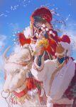 1boy 1girl absurdres animal artist_name bangs beard black_gloves bracelet braid brown_hair character_request closed_eyes dark_skin dark_skinned_male dated dizi930 earrings facial_hair facial_mark facing_another fingerless_gloves fingernails floating_hair flower forever_7th_capital fur-trimmed_sleeves fur_trim glitter gloves hair_ornament hand_up highres holding holding_flower jewelry long_hair long_sleeves looking_at_another looking_up low-braided_long_hair nail_polish necklace open_mouth orange_eyes pom_pom_(clothes) ponytail rahulk_(forever_7th_capital) red_nails riding scar scar_on_face smile stirrups tassel tassel_earrings upper_teeth white_footwear white_hair wind yak yellow_flower