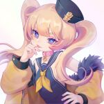 1girl 2492971998 :p azur_lane bache_(azur_lane) bangs collar dixie_cup_hat fang hat jacket jacket_on_shoulders looking_at_viewer military_hat pink_collar sailor_collar simple_background solo tongue tongue_out twintails violet_eyes white_background