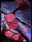 241_gm black_border blurry blurry_background border clouds commentary_request eternatus eternatus_(normal) gen_8_pokemon glowing highres legendary_pokemon no_humans outdoors outside_border pokemon pokemon_(creature) sky solo
