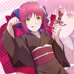 1girl :p azami_masurao blue_ribbon checkered checkered_background chocolate dutch_angle food_request hair_ribbon highres japanese_clothes kimono kohaku_(tsukihime) looking_at_viewer obi paw_pose pink_ribbon ribbon sash short_hair smile solo tongue tongue_out tsukihime upper_body valentine wide_sleeves yellow_eyes zoom_layer