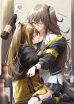 2girls alcohol blush breasts brown_hair closed_eyes collarbone girls_frontline heart highres jacket long_hair mechanical_arms monokuro_(sekahate) multiple_girls one_eye_closed side_ponytail skirt small_breasts smile ump45_(girls_frontline) ump9_(girls_frontline) yellow_eyes