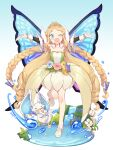 1girl ;d armpits bangs blonde_hair blue_background blue_eyes blush braid butterfly_wings collarbone commentary creature detached_collar detached_sleeves dragon drill_hair fairy flower flower_request flower_skirt full_body gloves gradient gradient_background hair_flaps high_heels highres holding holding_flower leg_up long_hair looking_at_viewer merc_storia minie multi-tied_hair one_eye_closed open_mouth outstretched_arms parted_bangs plant pointy_ears pond sarodia sidelocks smile spread_arms tiara twin_braids twin_drills very_long_hair water water_drop waterfall white_background white_footwear white_gloves wings