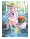 1girl alternate_costume angel_beats! apple basket day dress food forest frilled_dress frills fruit full_body goto_p hat highres long_hair looking_at_viewer nature outdoors silver_hair sitting smile soaking_feet solo straw_hat tenshi_(angel_beats!) tree water white_dress yellow_eyes