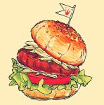 arinko_(a_ringo_hoppe) commentary_request food food_focus hamburger highres jpeg_artifacts lettuce meat mini_flag no_humans original simple_background sketch still_life tomato yellow_background