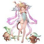 1girl alpha_transparency andira_(granblue_fantasy) animal_ears armpits arms_up bangs bare_shoulders blonde_hair blush breasts collarbone detached_sleeves double_bun erune eyebrows_visible_through_hair flower full_body granblue_fantasy hair_flower hair_ornament minaba_hideo monkey monkey_ears monkey_tail official_art one-piece_swimsuit open_mouth red_eyes sandals short_hair small_breasts swimsuit tail thighlet transparent_background two_side_up