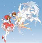 2girls blue_background bow brown_hair cardcaptor_sakura crown dress dual_persona eye_contact feathered_wings gloves green_eyes hakusai_(tiahszld) hat high_heels highres holding holding_wand kinomoto_sakura looking_at_another mini_crown multiple_girls pleated_dress profile puffy_short_sleeves puffy_sleeves red_bow red_dress red_footwear red_headwear shirt shoes short_sleeves sleeveless sleeveless_dress thigh-highs wand white_dress white_footwear white_gloves white_legwear white_shirt white_wings wings