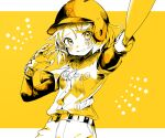 1girl baseball_bat baseball_helmet baseball_uniform belt blush gloves gotoh510 hair_ornament hairclip hat helmet kagamine_rin looking_at_viewer monochrome pants parted_lips shirt short_hair solo sportswear star_(symbol) vocaloid white_shirt yellow_background yellow_theme