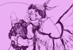 1girl animal_ears bird_ears bird_wings bow feathered_wings frilled_sleeves frills highres holding holding_microphone juliet_sleeves long_sleeves looking_at_viewer microphone monochrome mystia_lorelei puffy_sleeves purple_theme short_hair simple_background sketch skirt skirt_set smile solo stank touhou wings