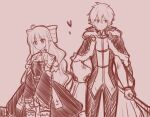 1boy 1girl bangs blush bow brown_background cloak closed_mouth dress eyebrows_visible_through_hair fur-trimmed_cloak fur_trim hair_between_eyes hair_bow hand_on_hip heart high_priest_(ragnarok_online) holding light_(luxiao_deng) long_hair long_sleeves monochrome pants pointy_ears puffy_long_sleeves puffy_sleeves ragnarok_online shirt simple_background sketch smile very_long_hair wide_sleeves