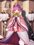 1girl alternate_costume blush brown_eyes character_name eyebrows_visible_through_hair fan folding_fan highres holding holding_fan japanese_clothes kantai_collection long_hair long_sleeves petals purple_hair solo tsushima_(kancolle) twitter_username unidentified_nk wide_sleeves