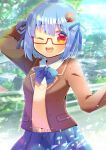 1girl ;d arm_behind_head arm_up bangs blazer blue_bow blue_hair blue_ribbon blue_skirt blurry blurry_background blush borrowed_character bow brown_jacket collared_shirt day depth_of_field eyebrows_visible_through_hair food_themed_hair_ornament glasses hair_between_eyes hair_ornament hair_ribbon hamburger-chan_(nekoume) jacket kouu_hiyoyo looking_at_viewer one_eye_closed open_blazer open_clothes open_jacket open_mouth original outdoors pleated_skirt red-framed_eyewear red_eyes ribbon semi-rimless_eyewear shirt skirt smile solo sweater_vest under-rim_eyewear upper_teeth white_shirt