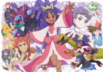 4girls 5boys :< :d absurdres alder_(pokemon) bangs baseball_cap blonde_hair blue_eyes brown_hair caitlin_(pokemon) cape choker clenched_hand clenched_hands closed_eyes closed_mouth coin commentary_request crossed_arms crying dark_skin dark_skinned_female dark_skinned_male deino_(pokemon) diantha_(pokemon) dragonite dress dual_persona elite_four eyelashes facial_hair gardevoir gen_1_pokemon gen_3_pokemon gen_5_pokemon glasses grimsley_(pokemon) hair_between_eyes hair_rings hand_on_headwear hand_up hat haxorus highres hilbert_(pokemon) hydreigon iris_(pokemon) jacket jewelry knees lance_(pokemon) long_hair long_sleeves looking_at_viewer marshal_(pokemon) mega_gardevoir mega_pokemon multicolored_hair multiple_boys multiple_girls necklace one_eye_closed open_mouth outstretched_arms pants parted_lips pink_footwear poke_ball pokemoa pokemon pokemon_(creature) pokemon_(game) pokemon_bw pokemon_hgss pokemon_xy purple_hair red_eyes redhead running sandals scarf shauntal_(pokemon) shiny shiny_skin shoes short_hair smile spiky_hair star_(symbol) teeth tiara toes tongue two-tone_hair very_short_hair white_choker wide_sleeves yellow_scarf