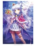 1girl alternate_costume angel_beats! angel_wings bell capelet contrapposto crown frilled_shorts frills fur-trimmed_capelet fur_trim gloves goto_p highres long_hair looking_at_viewer magical_girl mini_crown puffy_shorts red_capelet red_shorts shirt shorts silver_hair solo star_(symbol) star_print striped striped_shirt tenshi_(angel_beats!) wand white_gloves white_wings wings yellow_eyes