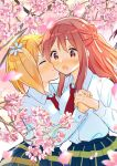 2girls :o blonde_hair blush cheek_kiss cherry_blossoms closed_eyes flower hair_flower hair_ornament holding_hand kiss multiple_girls redhead sakura_trick school_uniform sonoda_yuu tachi_(gutsutoma) takayama_haruka upper_body