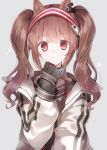 1girl :o a.a_(aa772) angelina_(arknights) animal_ears arknights bangs black_gloves blush brown_hair collar commentary_request eyebrows_visible_through_hair fox_ears gloves glowing hairband hand_up highres jacket long_hair long_sleeves looking_at_viewer open_clothes open_jacket parted_lips red_eyes red_hairband sidelocks simple_background solo twintails two-tone_hairband upper_body white_background white_jacket