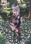1girl absurdres animal_ears bare_shoulders black_legwear blue_eyes blush breasts collar collarbone detached_collar eyebrows_visible_through_hair flower forest fox fox_ears grass highres huge_filesize japanese_clothes kimono long_hair looking_at_viewer marinesnow medium_breasts nature original outdoors ribbon-trimmed_sleeves ribbon_trim river rock sash scenery silver_hair smile solo sword thigh-highs tree very_long_hair water weapon zettai_ryouiki
