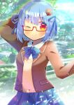 1girl ;) arm_behind_head arm_up bangs blazer blue_bow blue_hair blue_ribbon blue_skirt blurry blurry_background blush borrowed_character bow brown_jacket closed_mouth collared_shirt commentary_request day depth_of_field eyebrows_visible_through_hair food_themed_hair_ornament glasses hair_between_eyes hair_ornament hair_ribbon hamburger-chan_(nekoume) jacket kouu_hiyoyo looking_at_viewer one_eye_closed open_blazer open_clothes open_jacket original outdoors pleated_skirt red-framed_eyewear red_eyes ribbon semi-rimless_eyewear shirt skirt smile solo sweater_vest under-rim_eyewear white_shirt