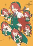 0_0 1girl angry beret braid chibi chibi_inset china_dress chinese_clothes citrus_(place) dress hat hat_ornament heart heart_eyes highres hong_meiling long_hair multiple_persona one_eye_closed redhead sanpaku sleeping star_(symbol) star_hat_ornament touhou twin_braids